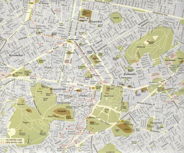 Map Of Central Athens Athens Athens Map Tourist Map