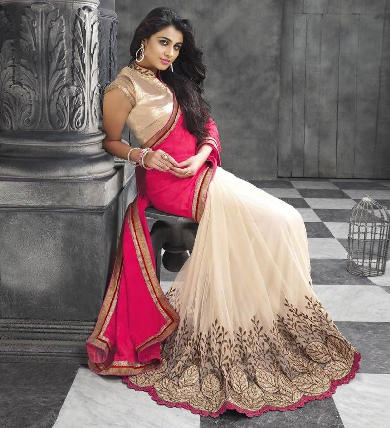 Wedding White Sarees Online: Cream Embroidered Georgette Saree With Blouse