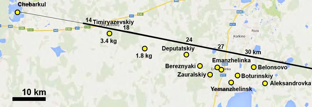 Chelyabinsk trajectory map Earth impacts Pinterest Chelyabinsk