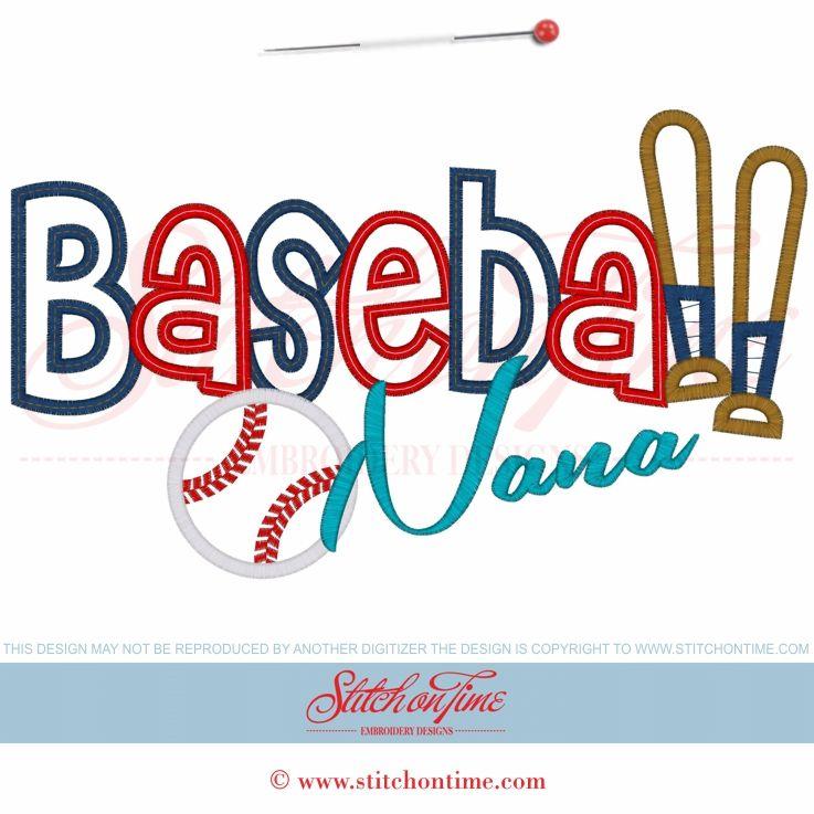 182 Baseball Baseball Nana Applique 6x10 Baseball