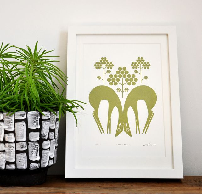 Fallow Deer In Olive Green - Hand Pulled, Signed, Gocco Screen Print £23.50