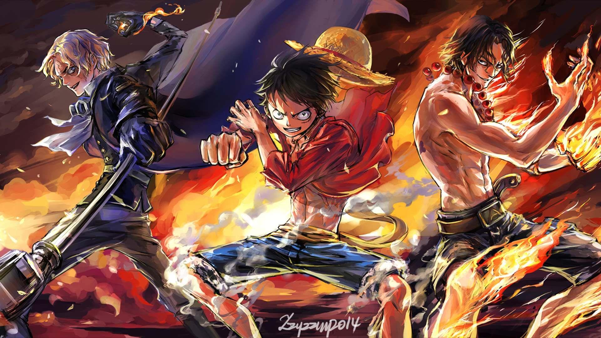 Sabo Luffy Ace Wallpaper Jpg 1 920 1 080 Pixel Gambar Anime Gambar Kartun