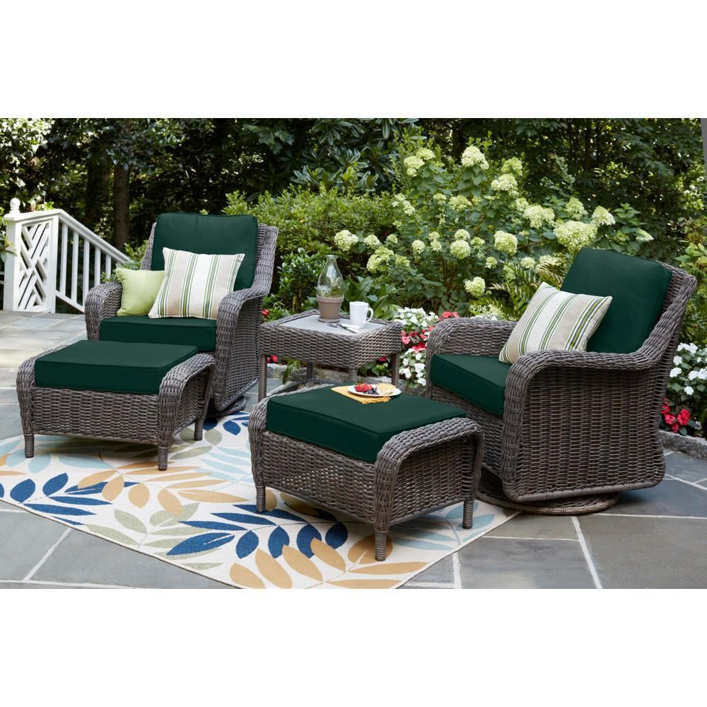 Hampton Bay Cambridge Gray Wicker Outdoor Patio Swivel Rocking Chair With Cushionguard Charleston Blue Green Cushions H056 01203900 The Home Depot Patio Furniture Layout Comfortable Patio Furniture Deck Furniture Layout