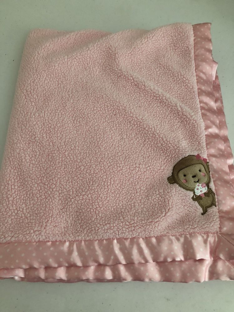Carters Child Of Mine Pink Monkey Cupcake Baby Blanket Sherpa Satin