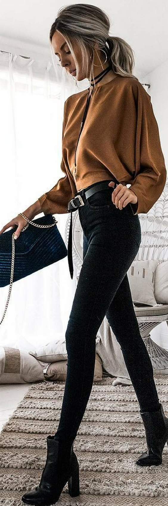 #fall #outfits women's brown long-sleeve crew-neck shirt and black skinny jeans
