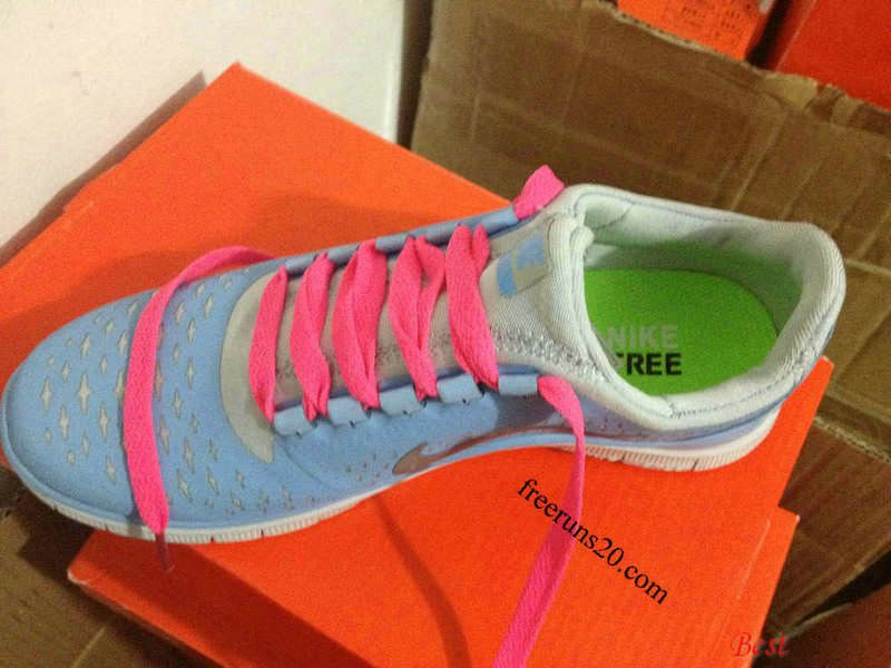 c6ca6165bc2f Womens Nike Free 3.0 V4 Prism Blue Reflective Silver Sail Peach Lace Shoes