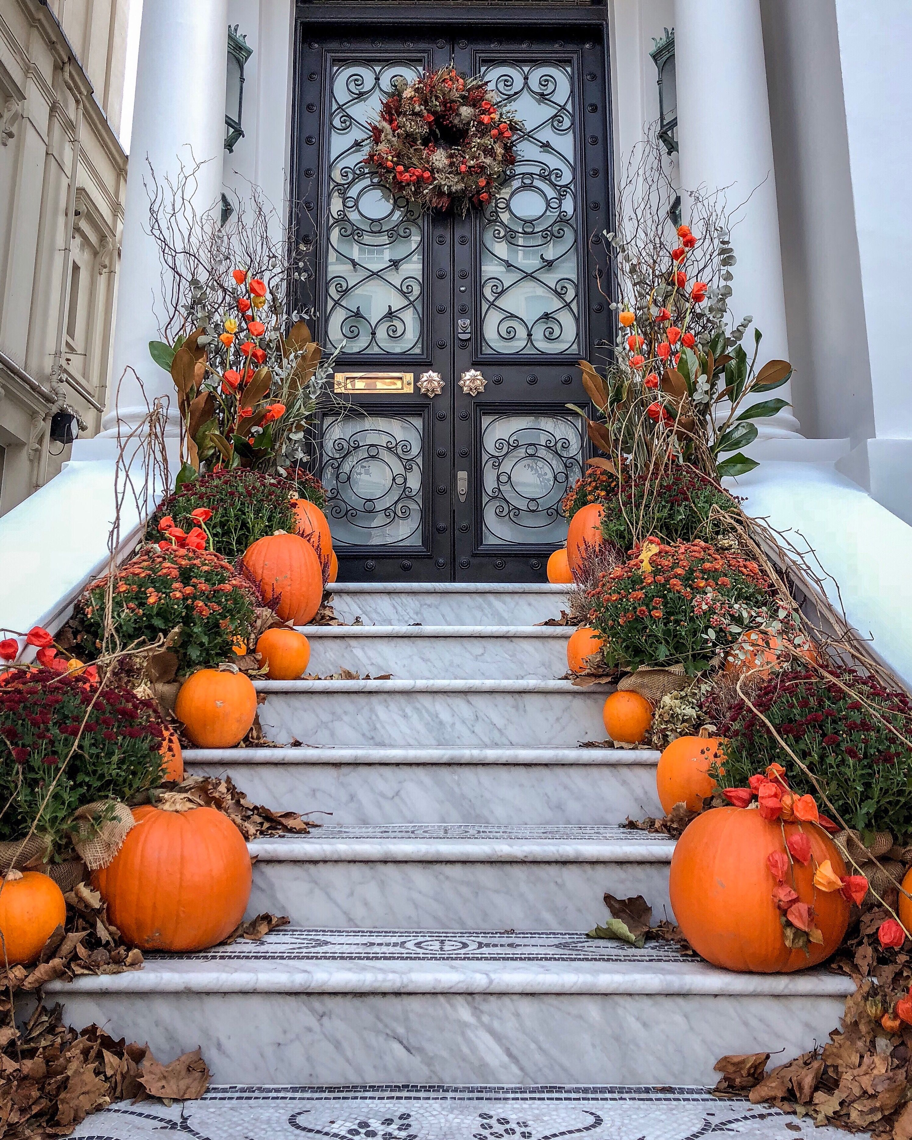 Chic Halloween Decorations On Stairs In Notting Hill London