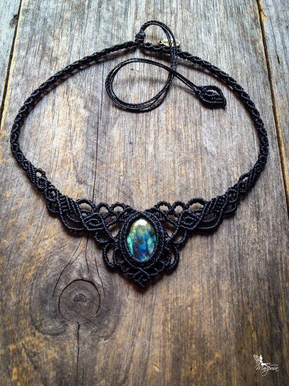 Photo of Macrame bohemian necklace Labradorite boho jewelry tiara statement necklace gift for her SACHA
