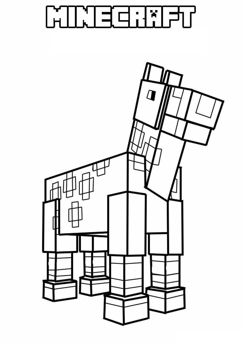 Minecraft Spider Coloring Page Horse In Minecraft Coloring ...