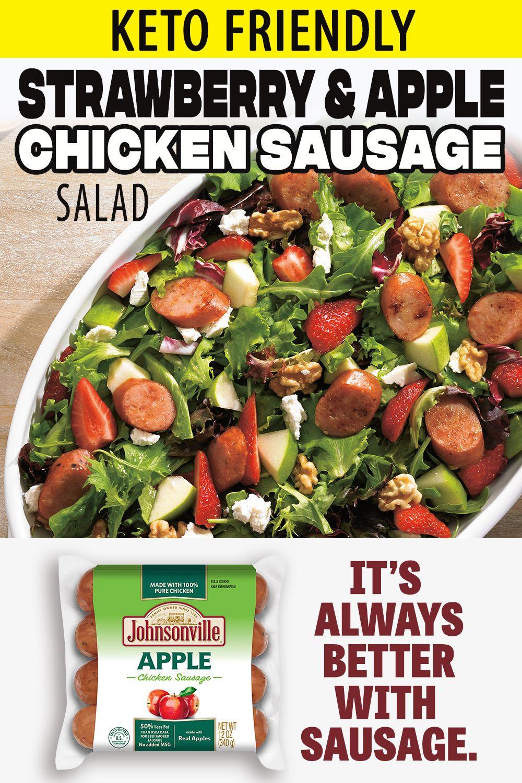 Chicken Apple Sausage Recipes Keto : chicken, apple, sausage, recipes, Strawberry, Apple, Chicken, Sausage, Salad, Sausage,, Salad,