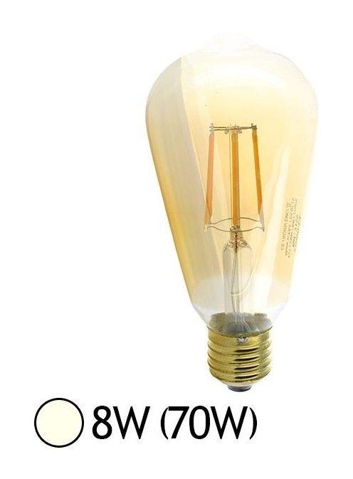 Ampoule Led 8w 70w Filament E27 Globe St64 Dore Blanc Jour 4000 K 7160 Led Light Bulb Globe