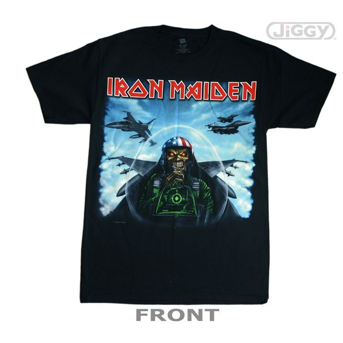 dae89a49ea0 Com - Iron Maiden - Texas Jetfighter T-Shirt Iron Maiden t-shirt featuring  Eddie as a U.S. fighter pilot. Complete with stars & stipes helmet and 666  on the ...
