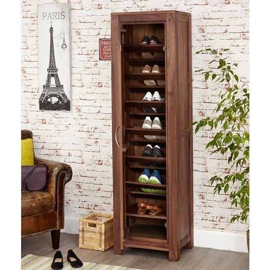 Sayan Wooden Shoe Cupboard In Walnut With 1 Door 32140 Shoestorage Furnitureinfashion Storage