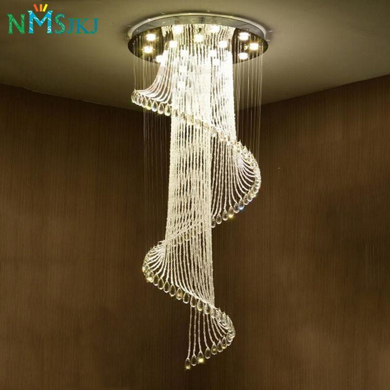 Modern Luxury Large Luxury Crystal Chandelier Long Stair Spiral