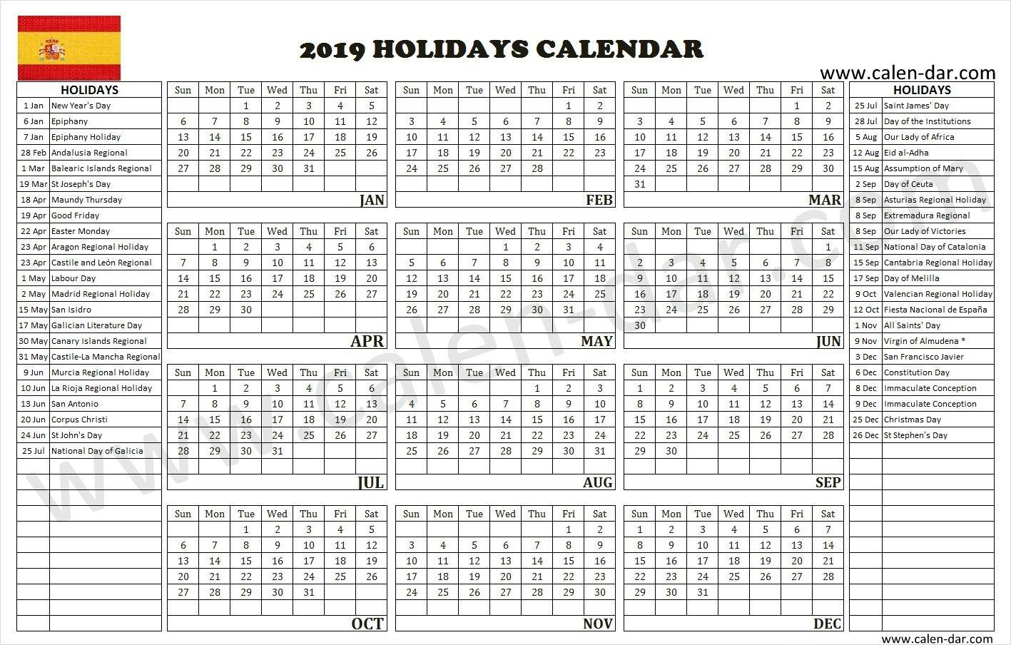 Spain 2019 holidays holiday calendar spain holidays