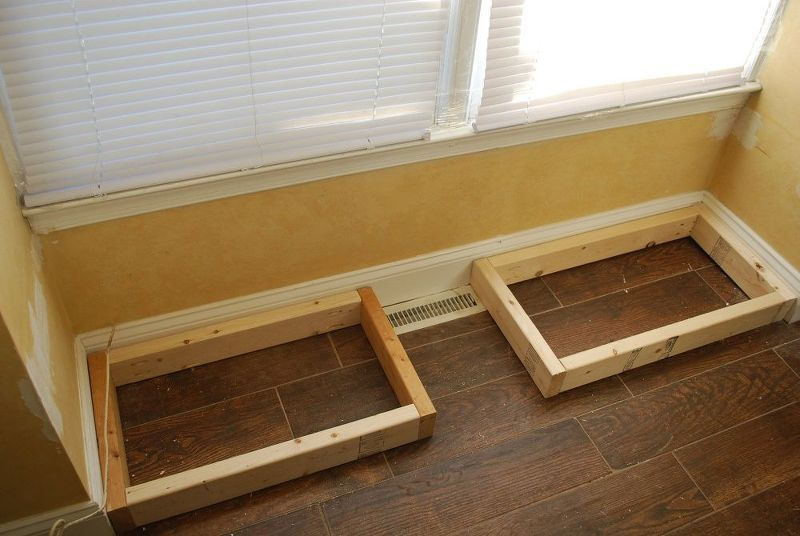 diy window bench seat with drawer storage, outdoor furniture, storage ideas