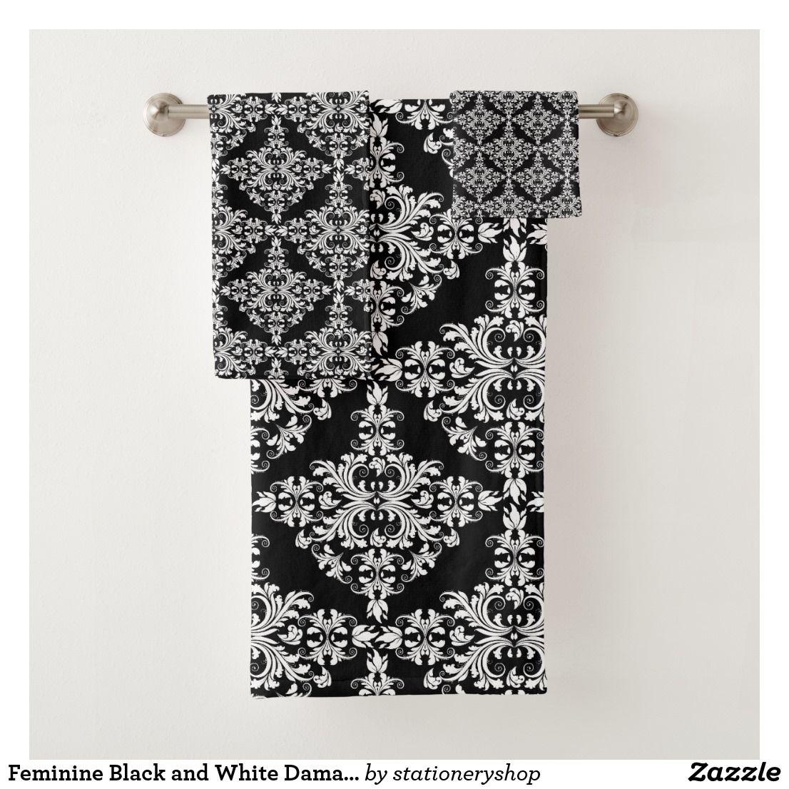 Feminine Black And White Damask Pattern Bath Towel Set Patterned