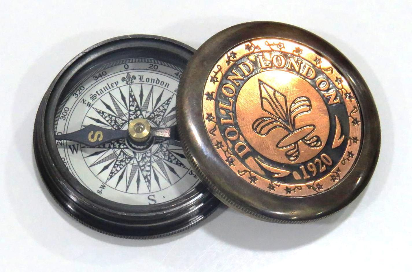 US Navy Brass Push Button Compass Nautical Fully Functional Pocket Compass Decor