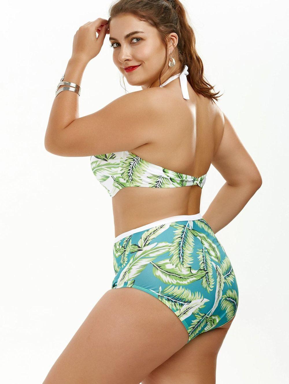 9ada07f463 Plus Size Palm Leaf Print Halter Bikini - GREEN 3XL
