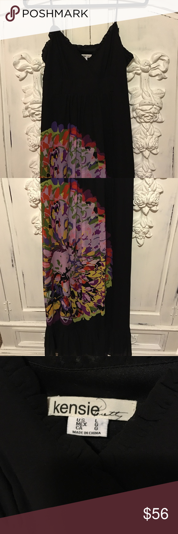 Kensie Maxi Dress Black maxi dress with large floral design. In like new condition. Kensie Dresses Maxi