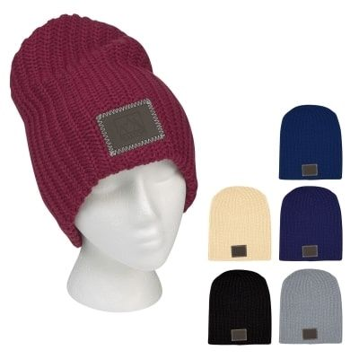 6725340066e This retail looking winter hat with cuff is a great promotional tool to  have your business stand out above the rest. Deboss your logo into the  leatherette ...