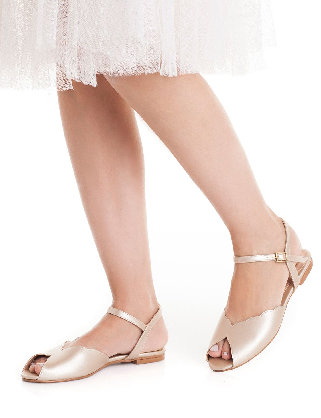 The Ahuva Champagne Vegan Bridal Flat Sandal Vintage Inspired