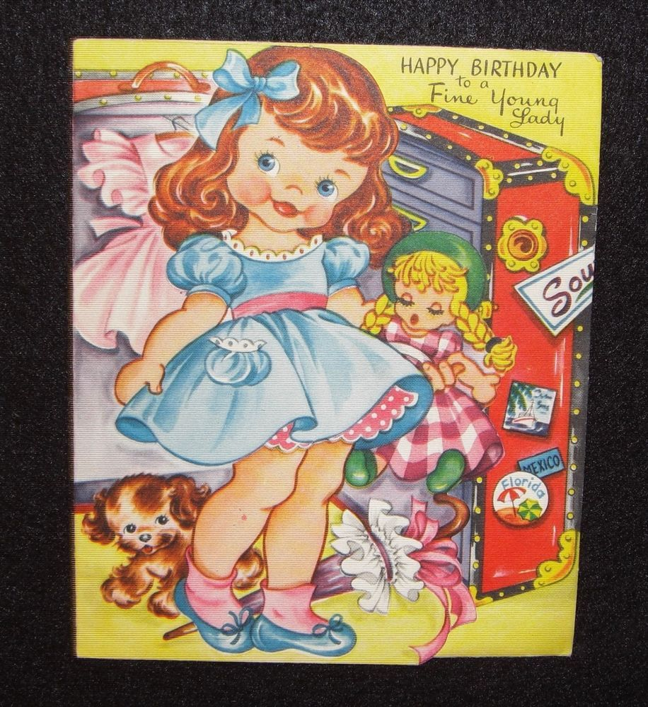 Vintage 1950s Paper Doll Birthday Greeting Card Little Girl W