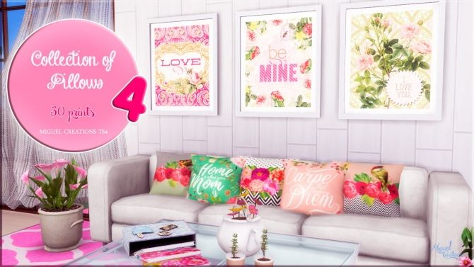 Collection of Pillows 4 at Victor Miguel • Sims 4 Updates | Living ...