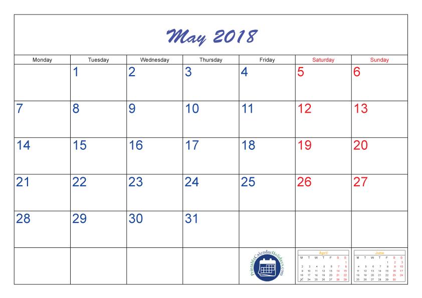 May 2018 Calendar Template Calendar 2018 Pinterest Calendar