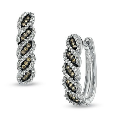 Zales 1/8 CT. T.w. Enhanced Black Diamond Hoop Earrings in 10K White Gold NrDKXitMww