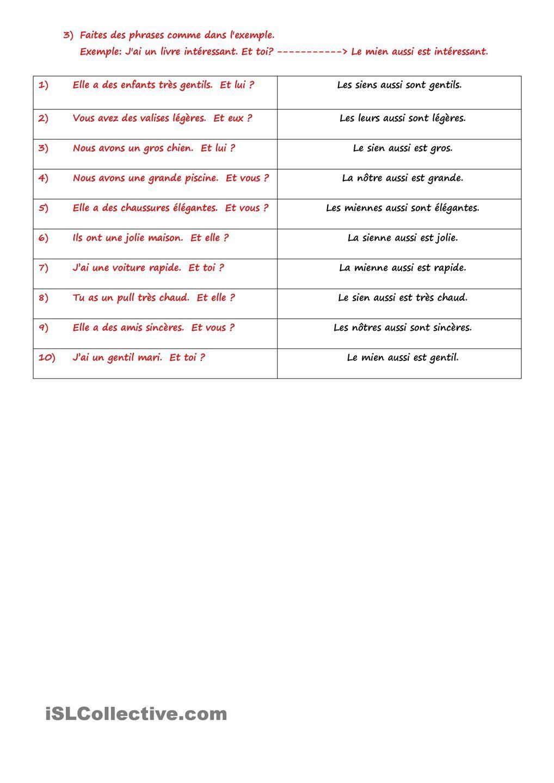 Pronoms Possessifs Grammaire Francaise Exercices Fiches Pedagogiques Lecture Cm2