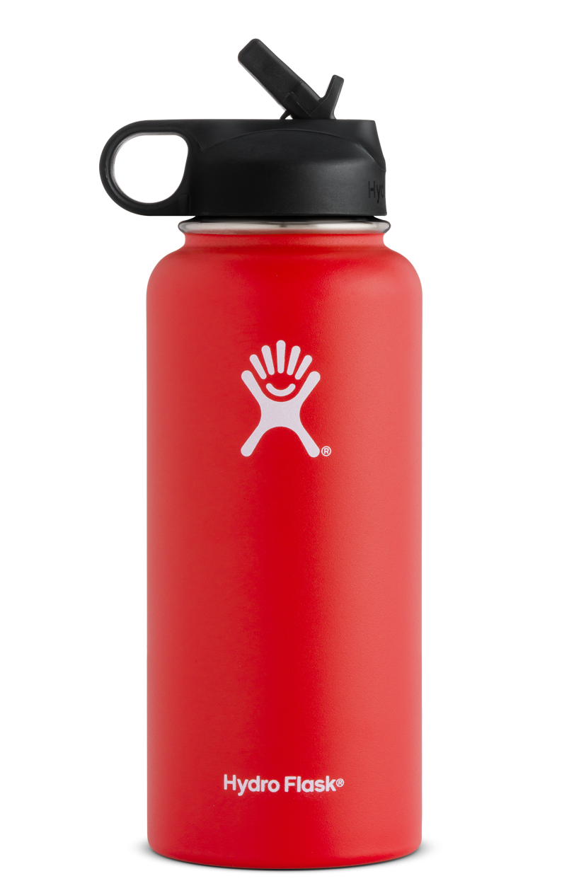 Hydro Flask 32 oz Wide Mouth w/ Straw Lid in Red