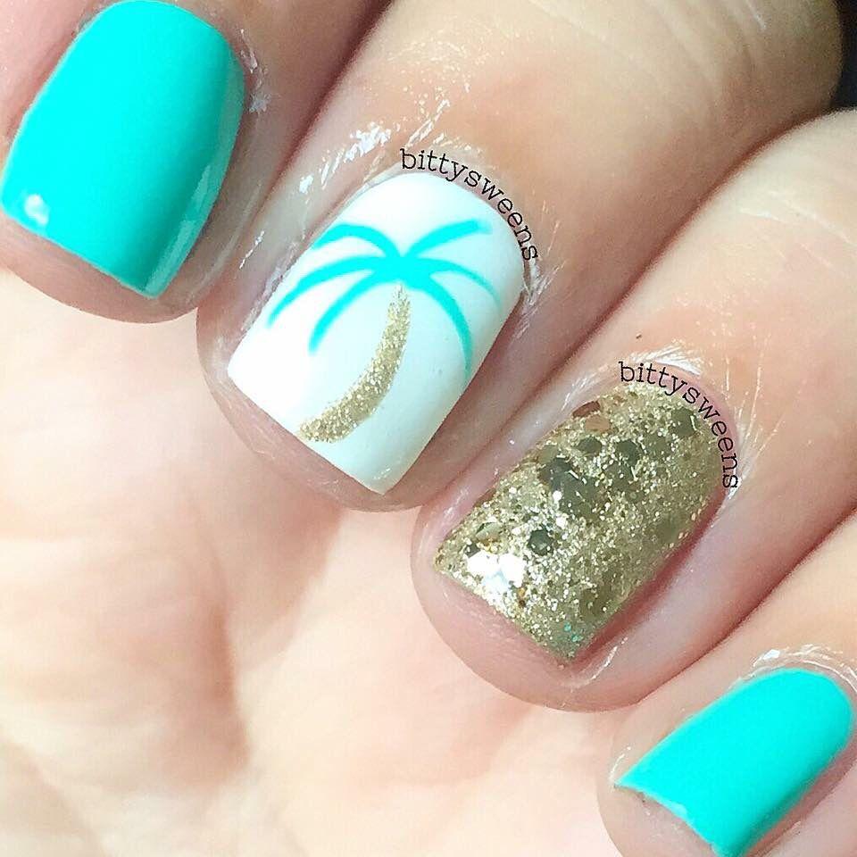 beachy nails feel pretty