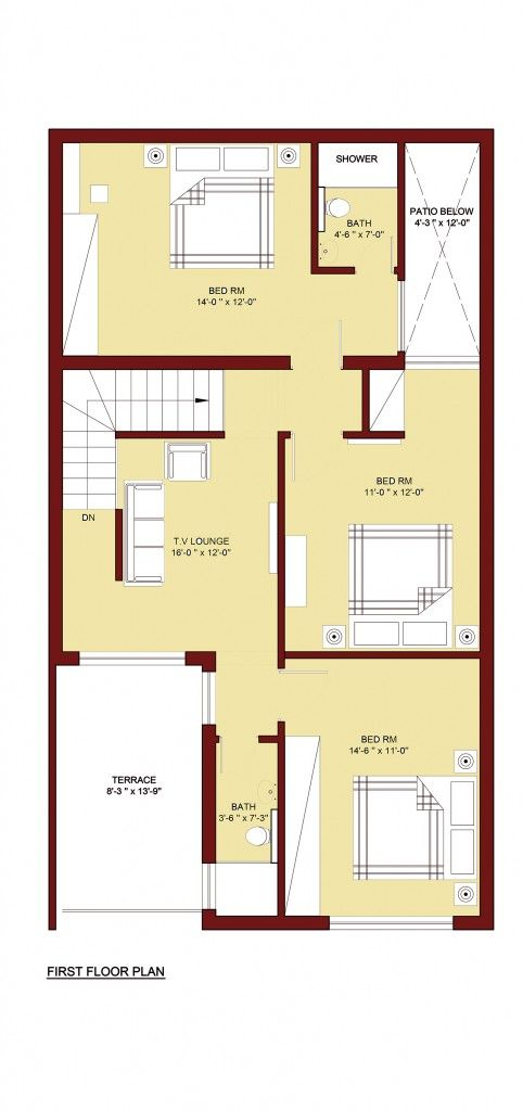 100 sq m home plan 5 marla 4 bed room 5 marla house for Home design 5 marla corner