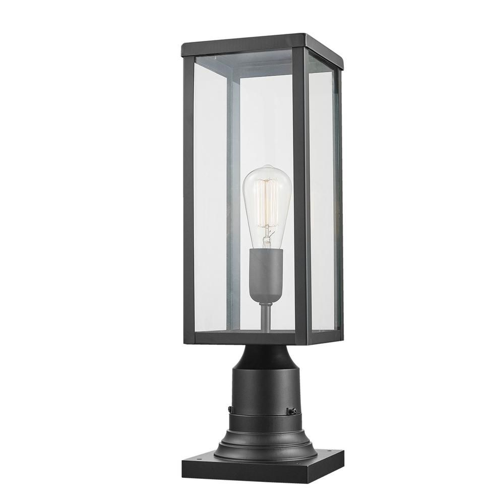 Globe Electric Bowery 1 Light Matte Black Outdoor Lamp Post Light Fixture With Base Adaptor And Cl In 2020 Lamp Post Lights Outdoor Lamp Posts Outdoor Lamp Post Lights