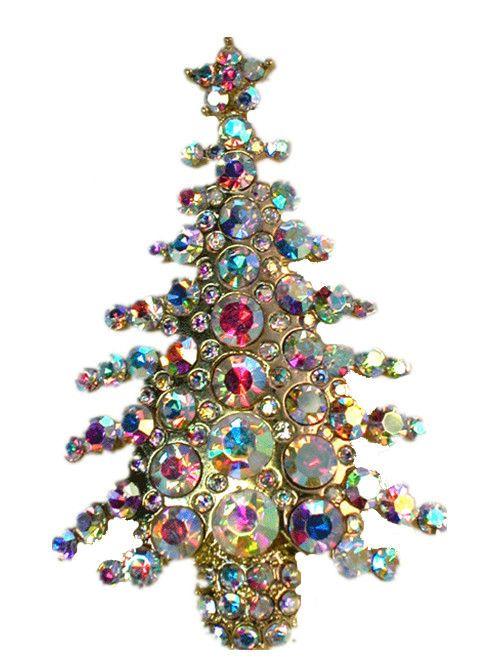 Gorgeous Ab Crystal Gold Metal Christmas Tree Pin Brooch  G379 #Faship #PinBrooch #Christmas