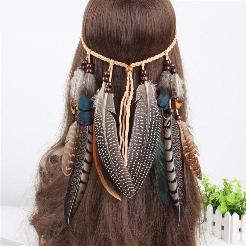 Ymwave Cheveux Hippie Bandeaux avec Plumes Gland Boh/émien Indian Headdress Coiffure Accessoires pour Femmes Filles F/ête