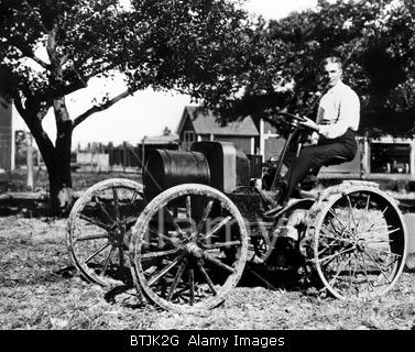 Stock Photo Henry Ford At The Controls Of One Of His First Tractors Powered By A 1904 Model B Type Engine Near Dearborn Michigan 1908 In 2020 Ford Tractors Photo