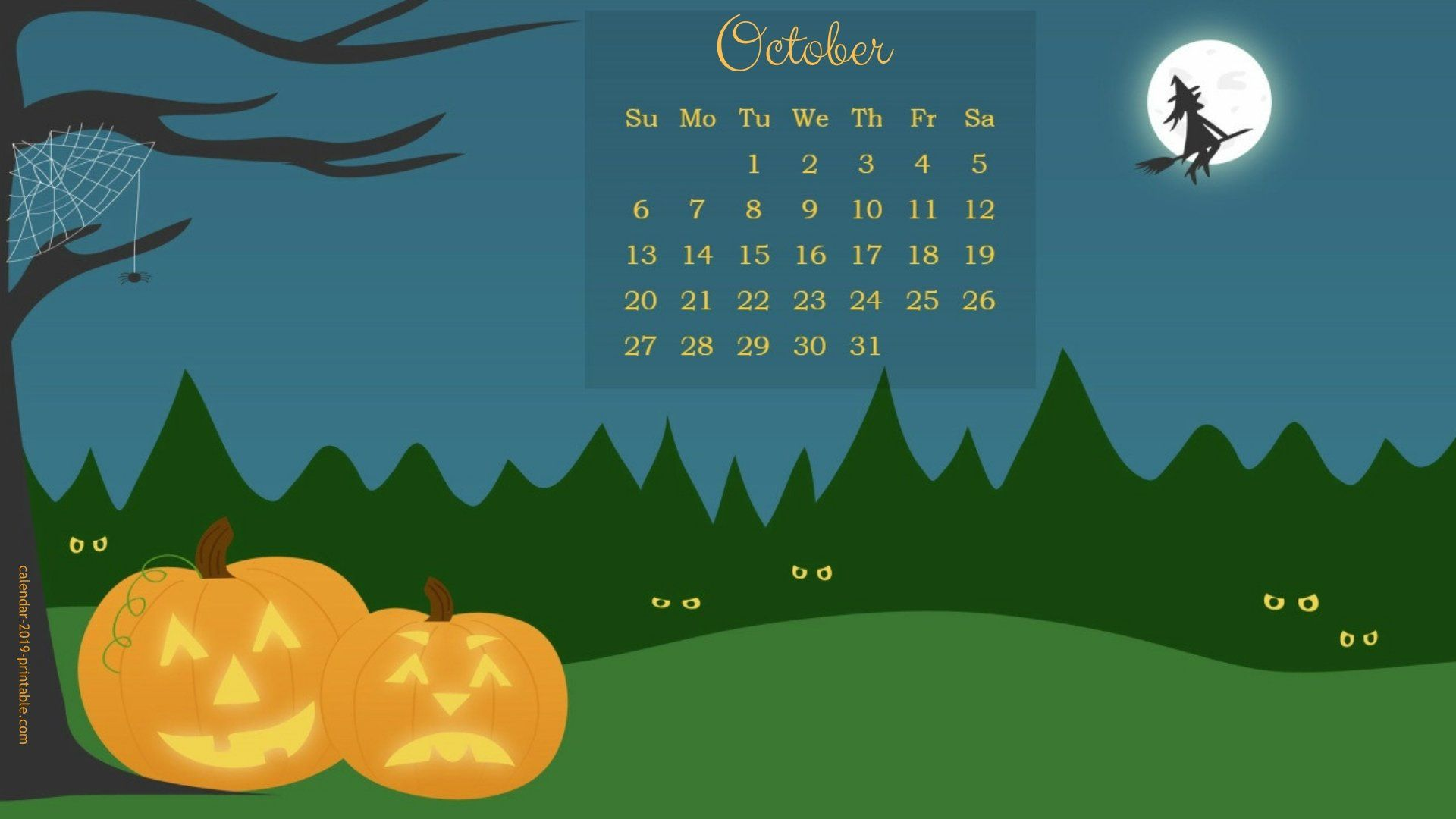 october 2019 calendar halloween wallpaper | Calendar 2019 ...