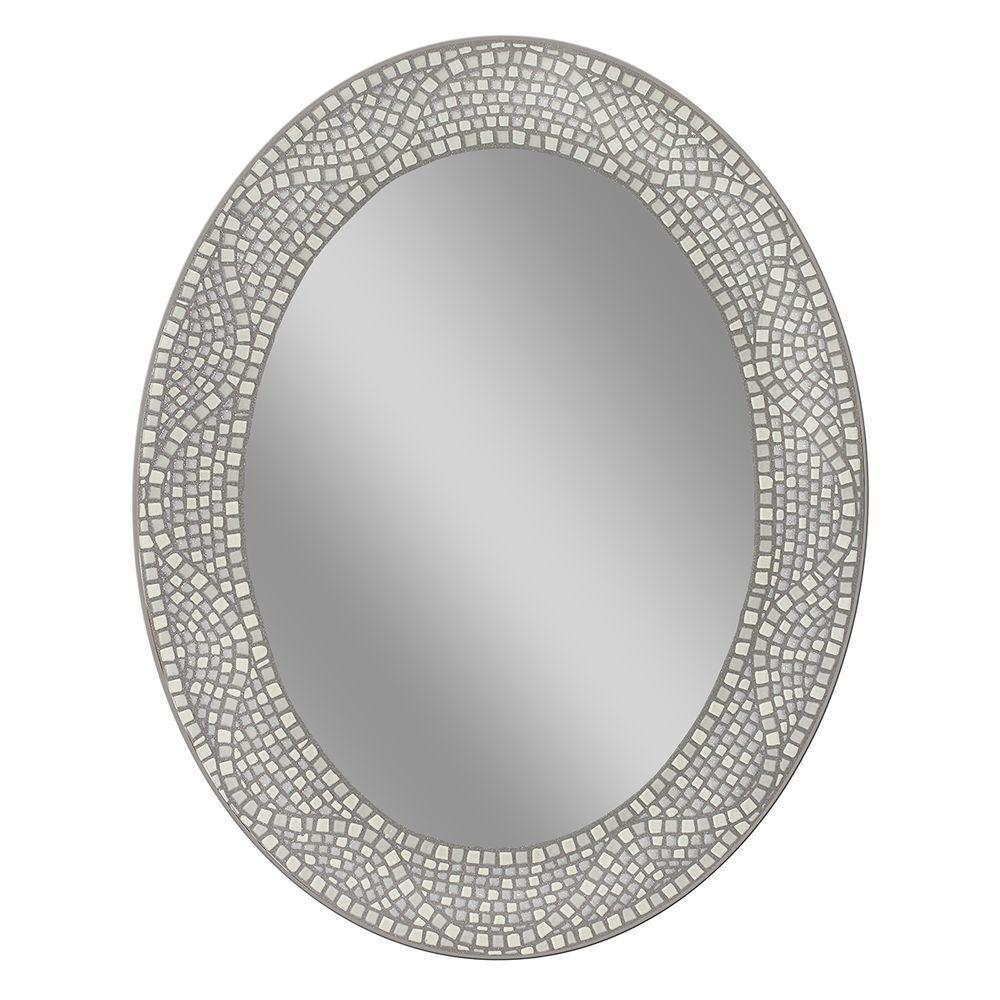 Deco Mirror 23 In X 29 In Opal Mosaic Oval Mirror White Oval
