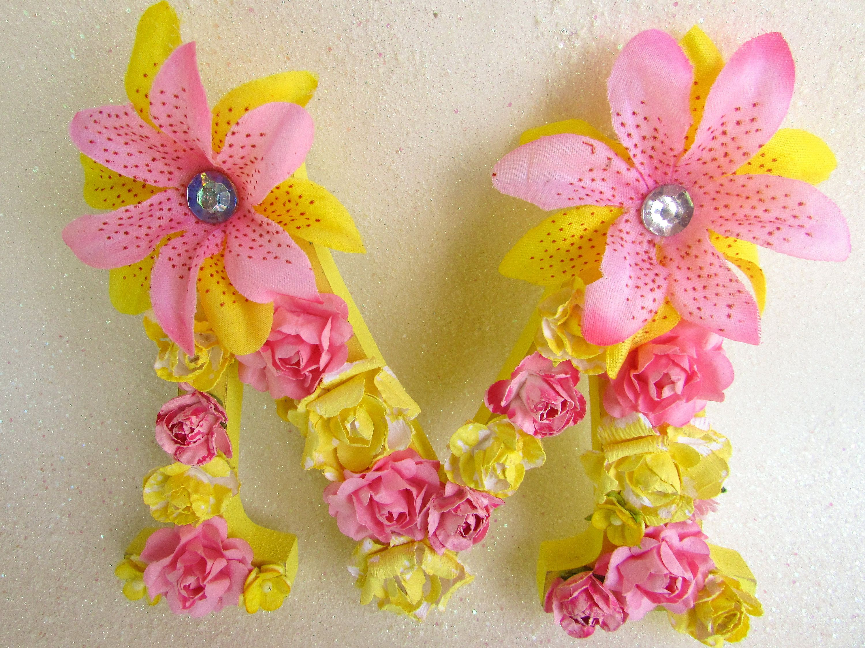 Floral name letter - Flower letter M - Custom letter M - Pink flower ...