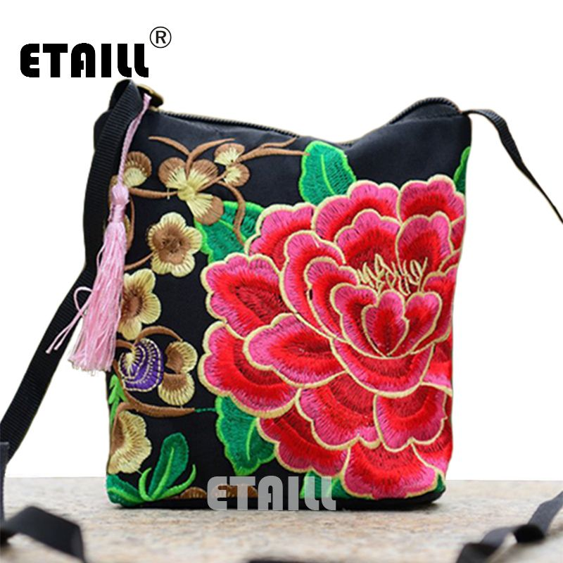 Chinese Women Boho Indian Thai Flower Embroidered Canvas Bag Mobile Phone  Camera Money Small Bag Luxury Brand Shoulder Bag Women 59928f0946210