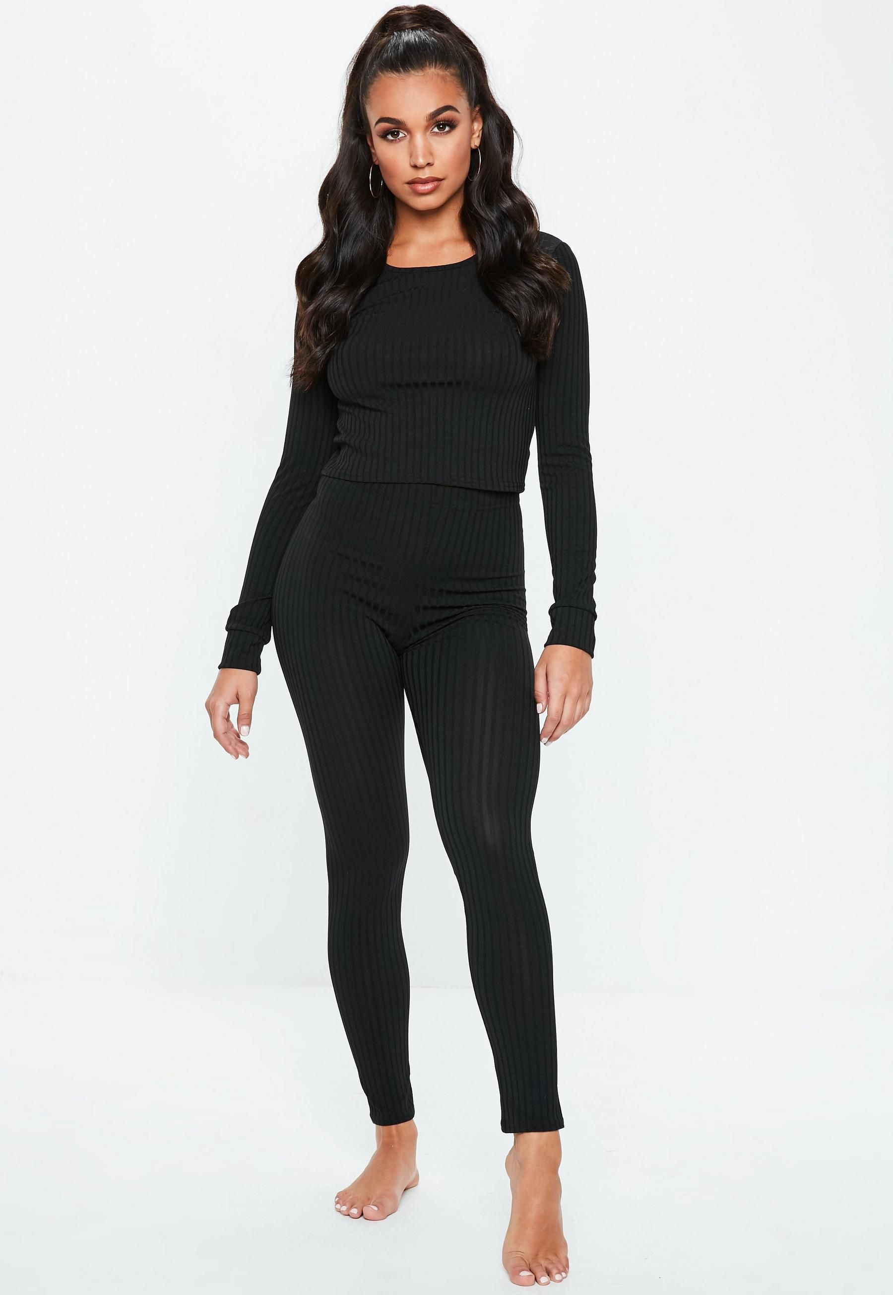 d1a75514291df Black Rib Mix And Match Leggings in 2019
