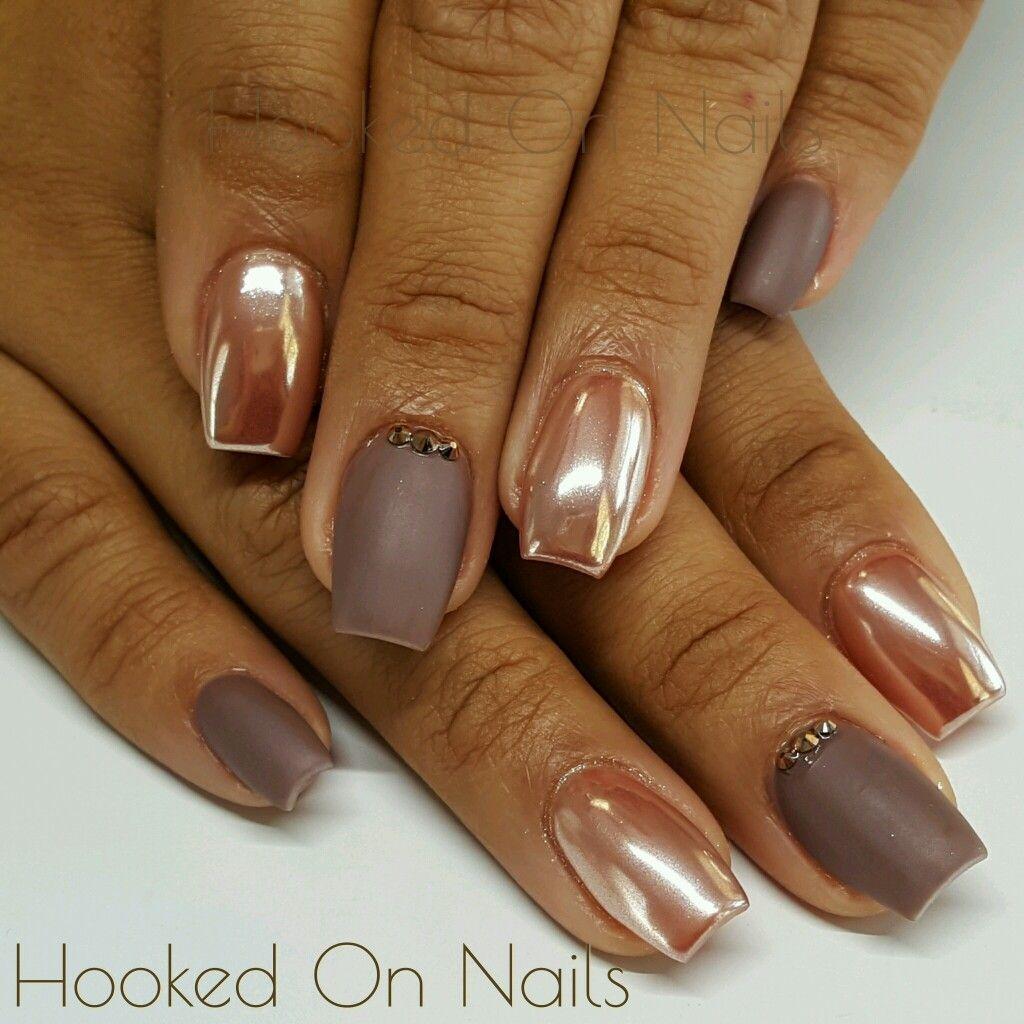 Copper chrome nails matte nails taupe nails coffin shape ...