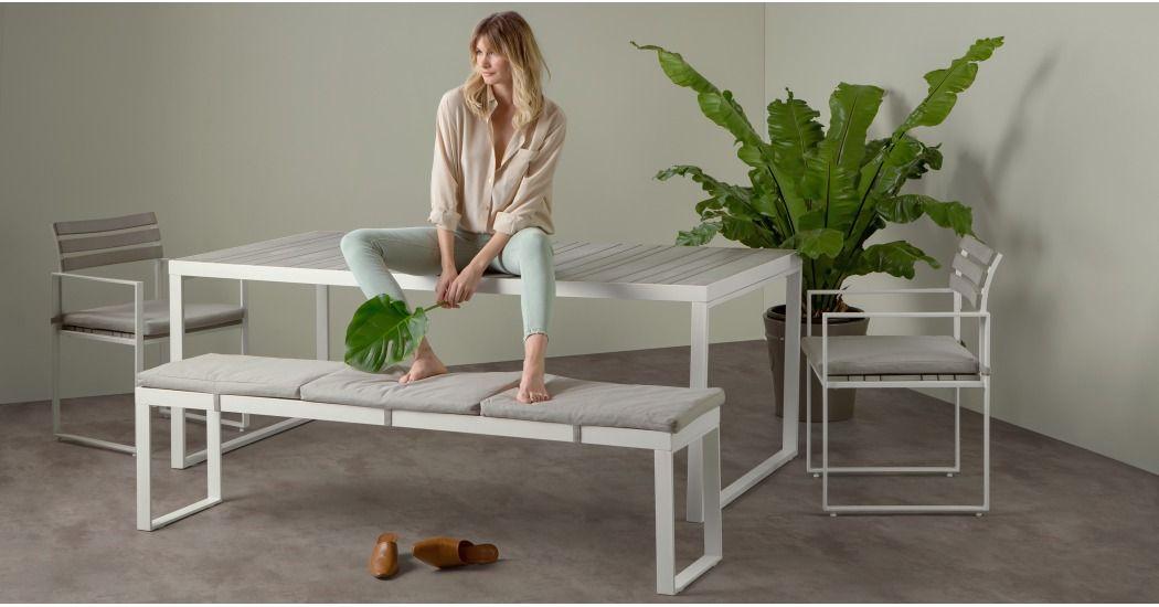 Catania Gartentisch 197 Cm Weiss Und Grau Gartentisch