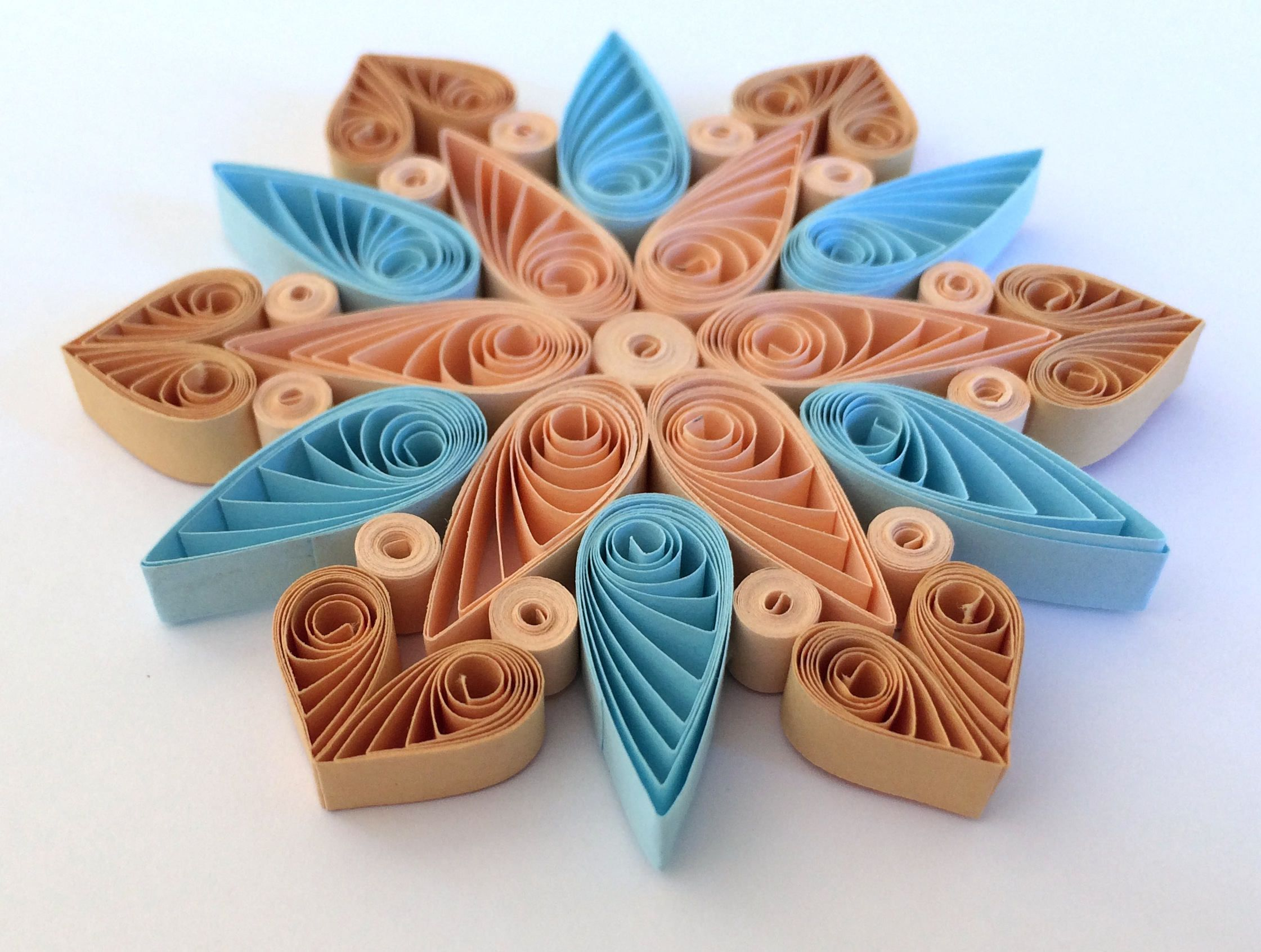Snowflake Beige Blue, Quilled Handmade Art, Paper Quilling, Home Decoration