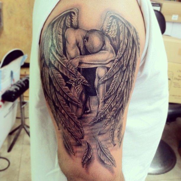 Grey Ink Fallen Angel Tattoo On Right Half Sleeve Tattoos
