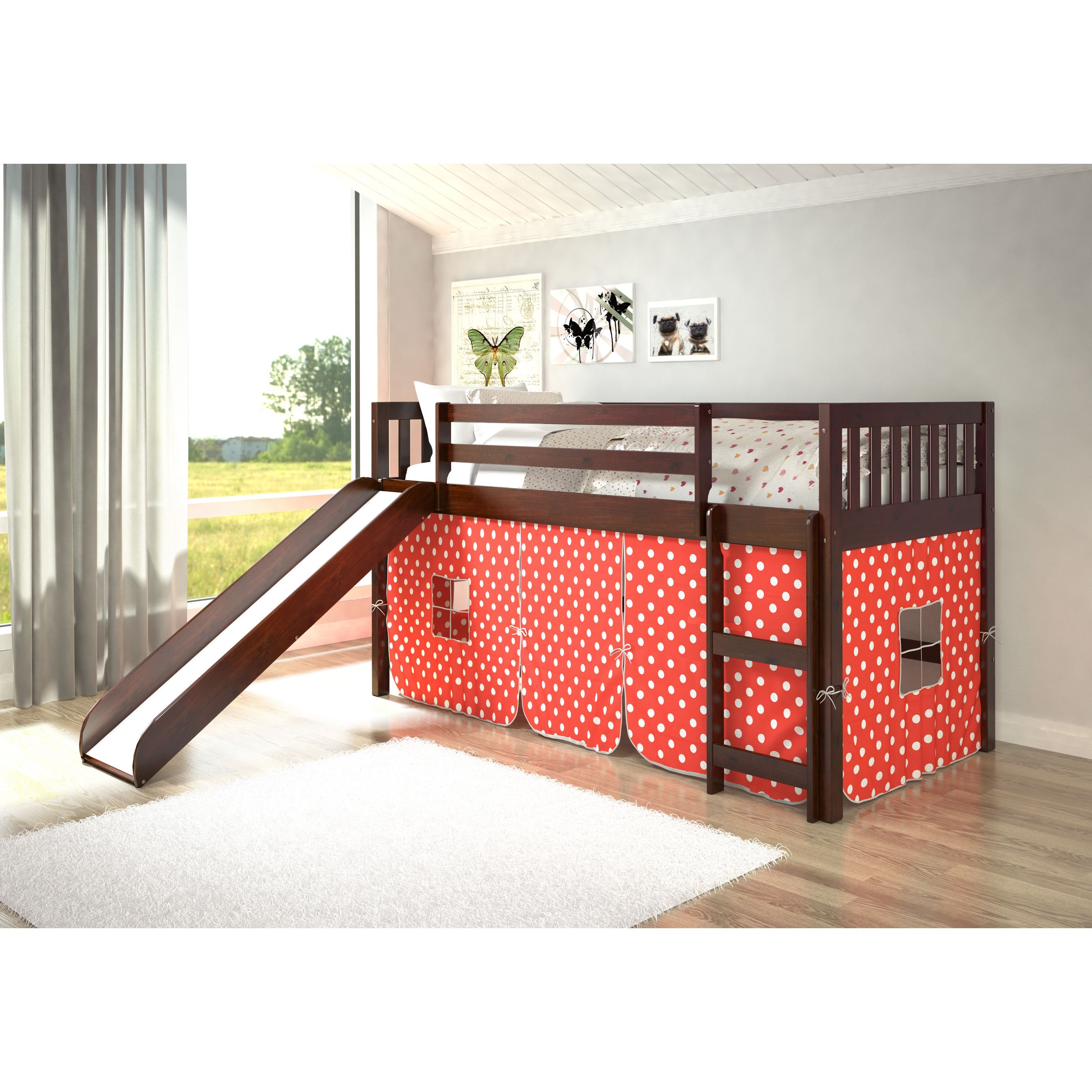 Loft bunk bed with slide  Donco Kids Mission Tent Loft Dark Cappuccino Twin Bed with Slide