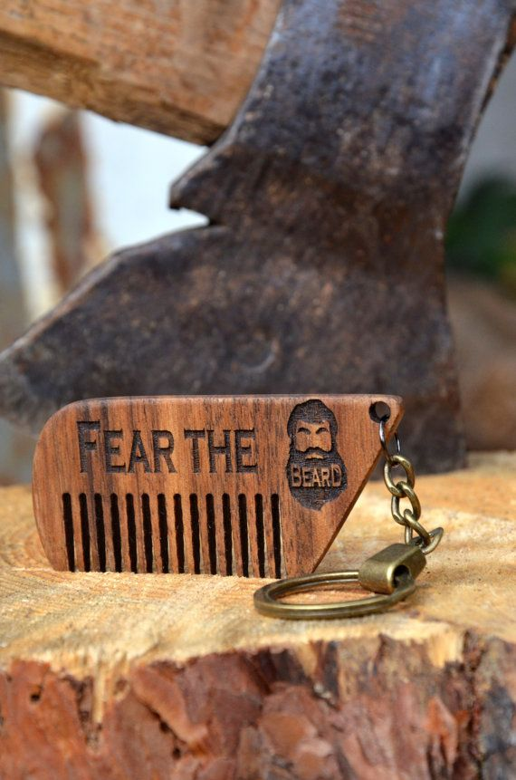 Wooden Key chain Comb Personalized Engraved Beard comb Mustache comb Hair comb Custom gift for Him Men Husband Beard care Fall Grooming kit