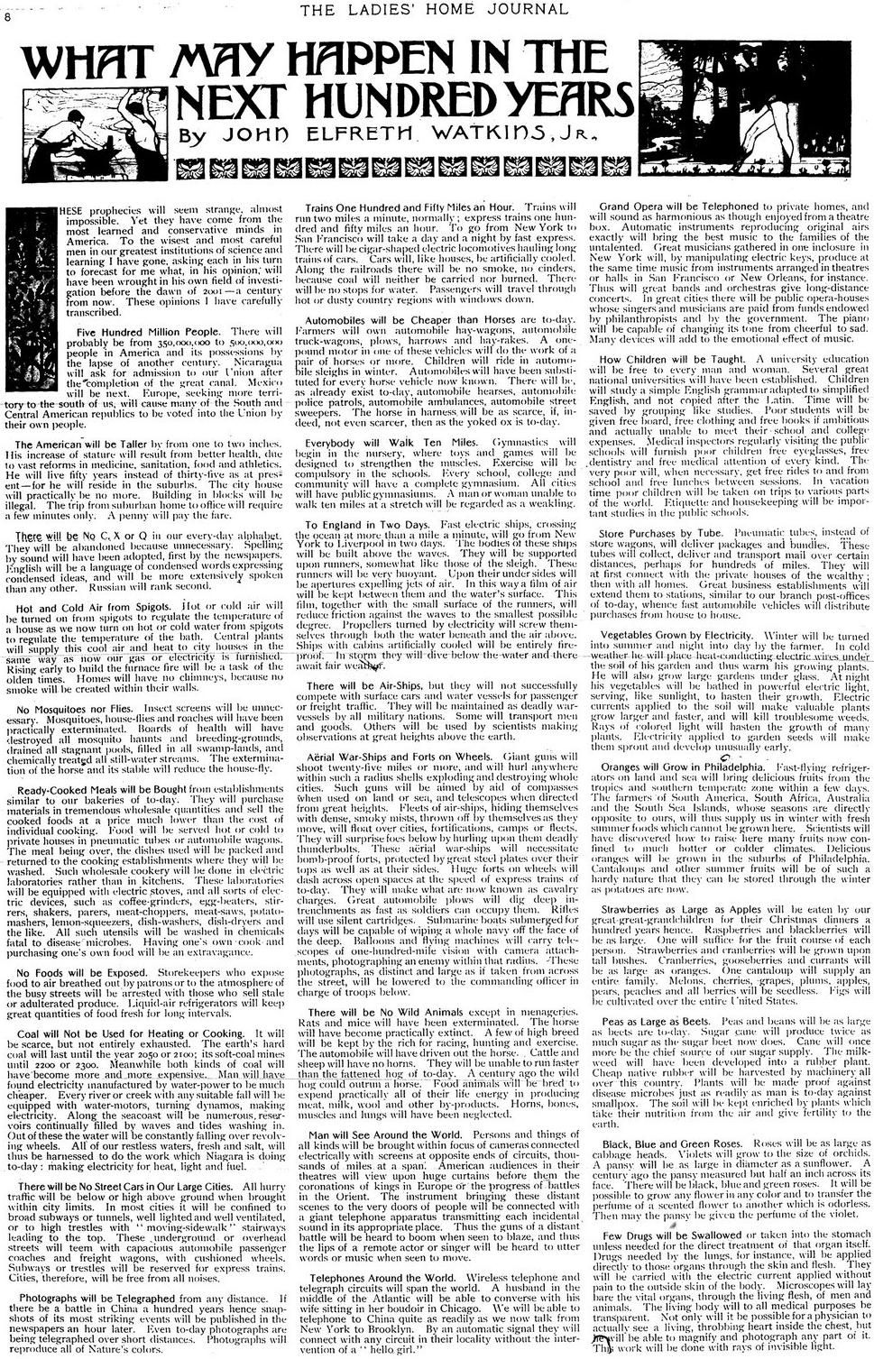 Predictions of what 2001 would be like in a 1901 newspaper. It worth the reading!!!